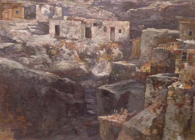 """Aul (Bergdorf) in Kaukasien""Öl auf Leinwand, 39 x 53 cm"