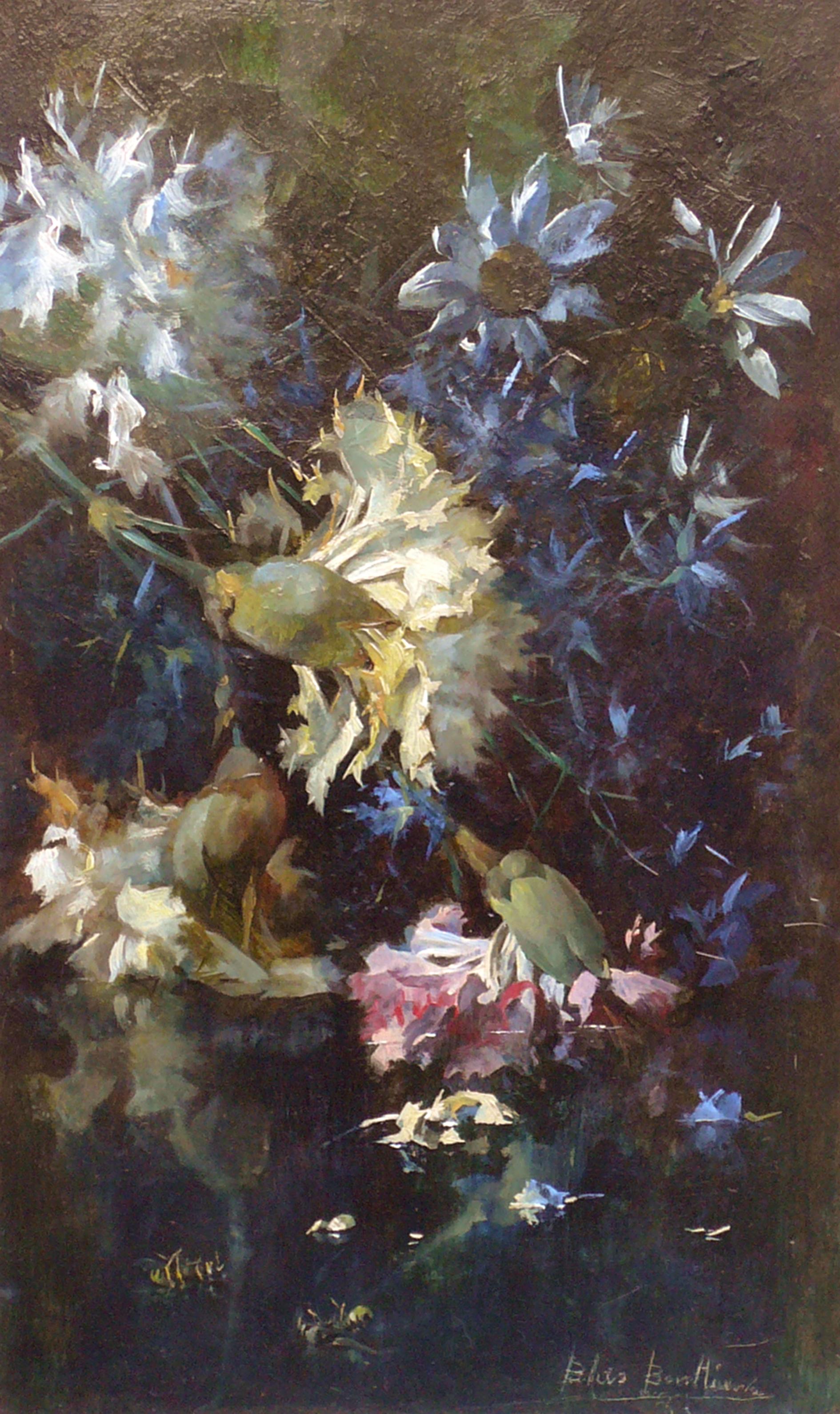 """""""Blumenstück am Wasser""""Öl auf Holz, 39 x 25 cm, signiert und datiert"""