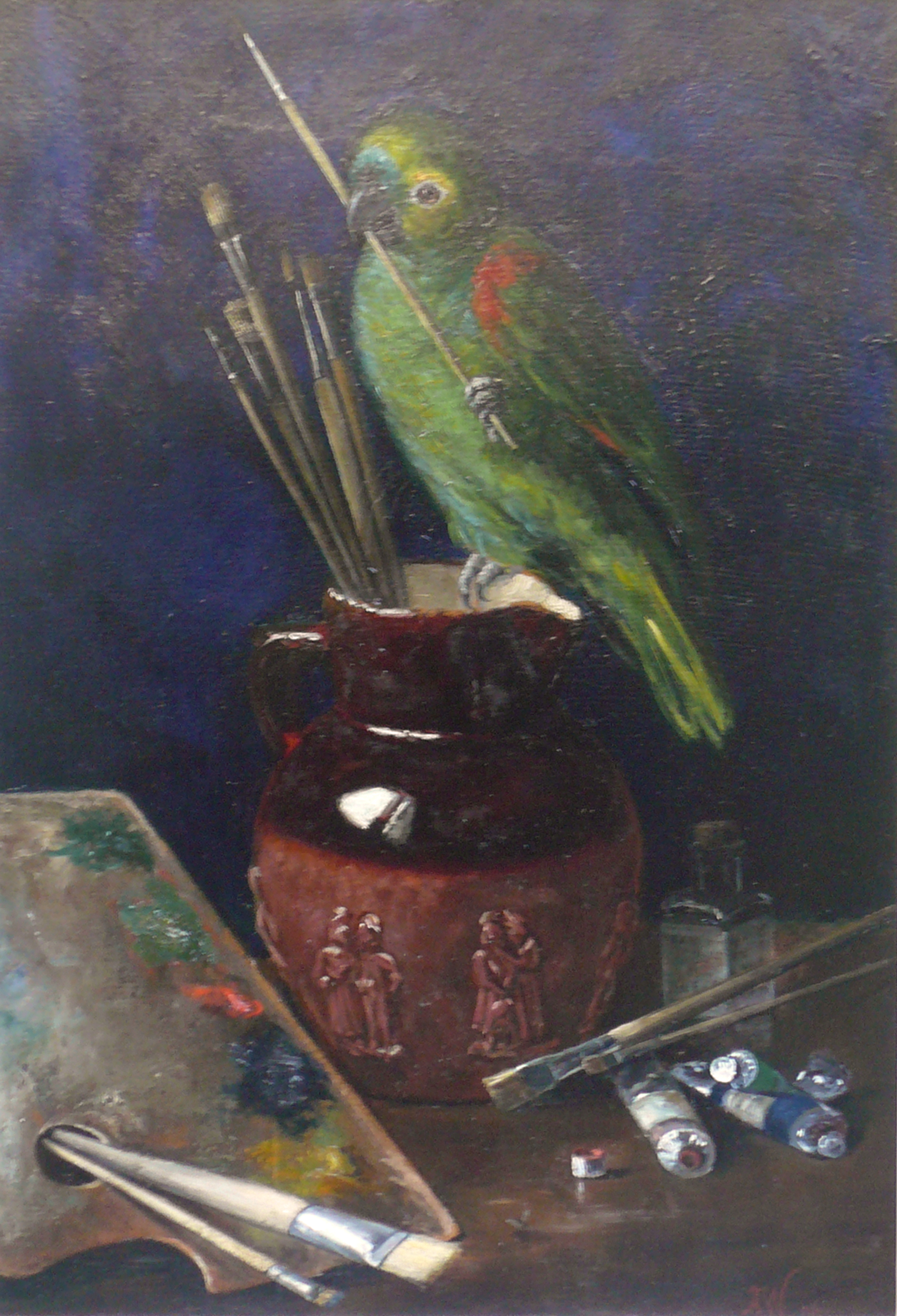 """""""Papagei im Atelier"""", 1896 Öl auf Malplatte, 54 x 37 cm, monogr. und datiert"""