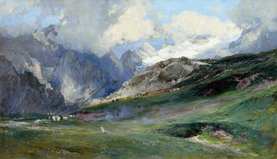 """""""In den Hohen Tauern"""" Öl/Lwd., 82 x 140 cm, signiert und datiert"""