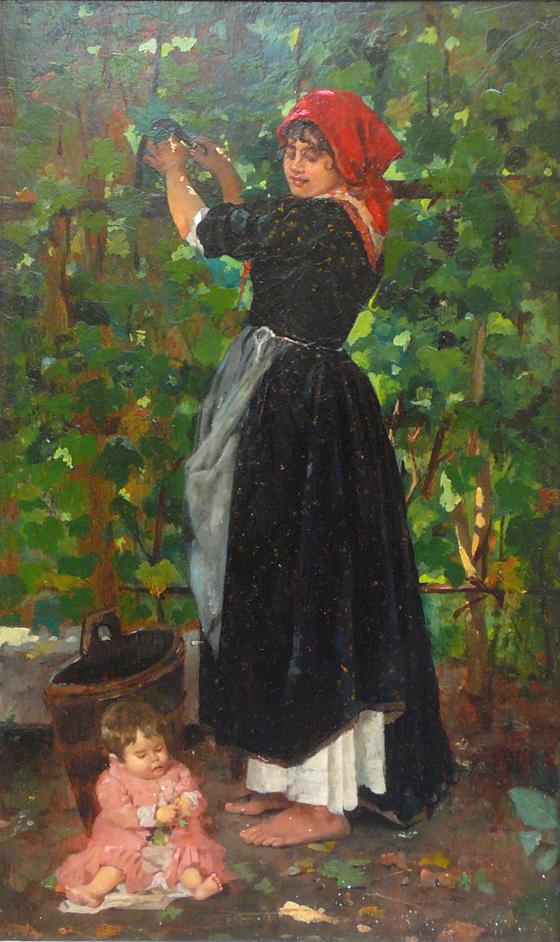 """""""Bei der Traubenernte"""" Öl auf Holztafel, 40 x 24 cm"""