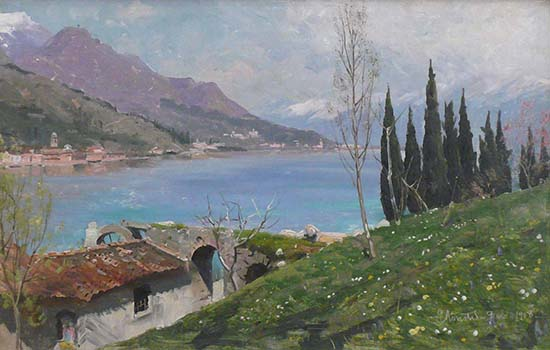 """Early Spring at Lake Garda"" Oil on canvas, 48 x 67 (framed), signed"