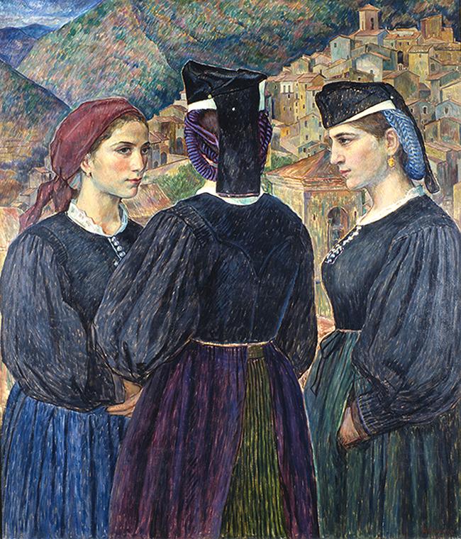 """""""Drei Mädchen von Scanno"""", 1925 Öl auf Leinwand, 101 x 116 cm, signiert"""