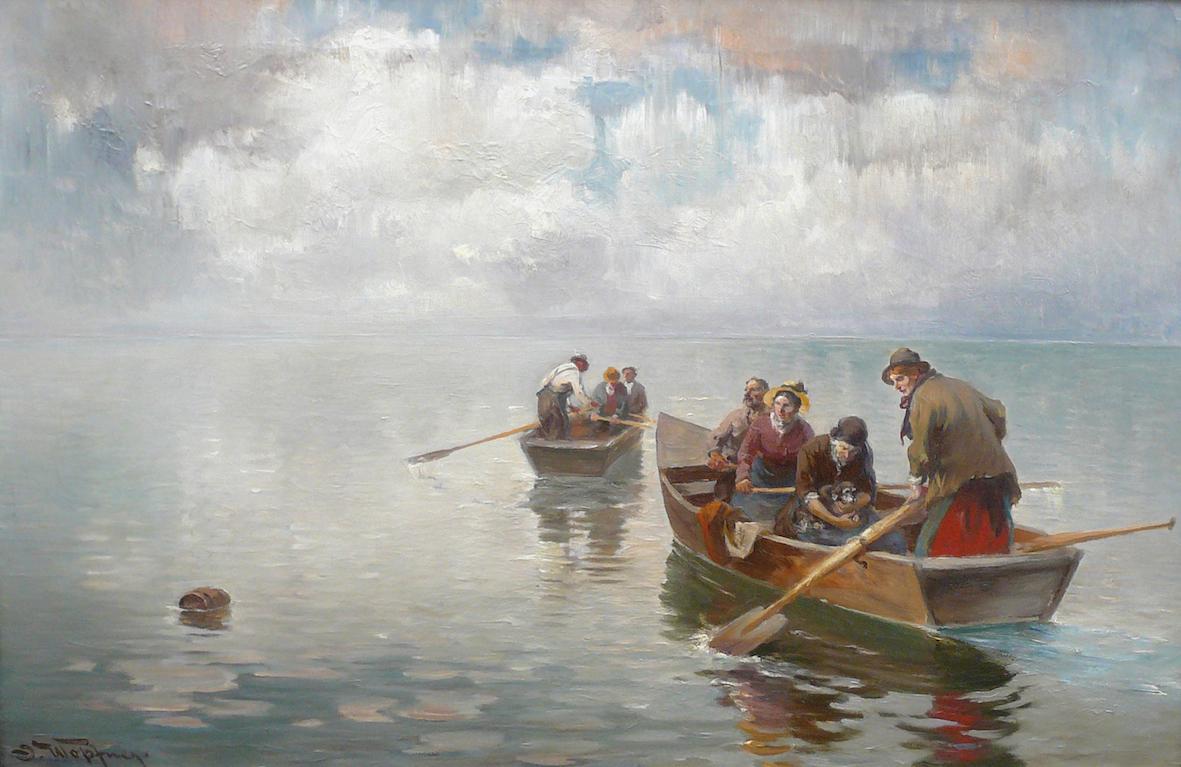 """""""Boote auf dem Chiemsee"""" Öl auf Leinwand, 41 x 62,5 cm, signiert"""