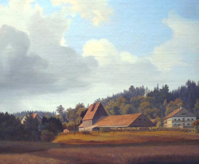 """""""Bauernhaus im Chiemgau"""" Öl auf Karton, 27,2 x 32,5 cm, rückseitig signiert"""