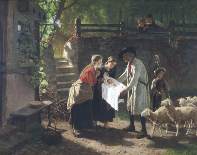 """""""Das Findelkind"""", 1871 Öl auf Leinwand, 72 x 92 cm, signiert und datiert"""